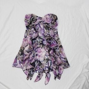 DVF Floral silk Ruffle Sequin Strapless top monroe